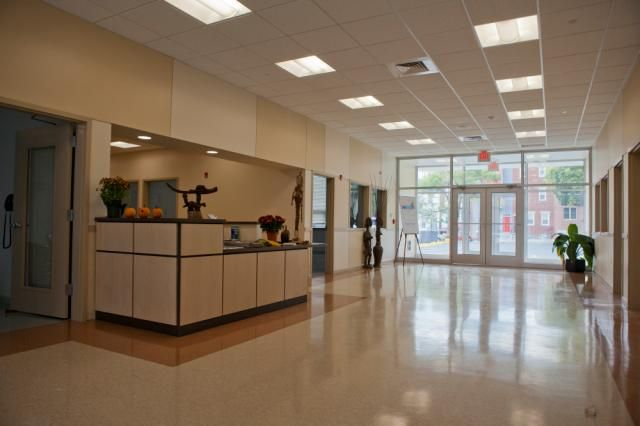 Beckett Gardens entrance and front desk area